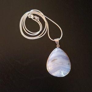 NWOT Blue Teardrop Stone Necklace